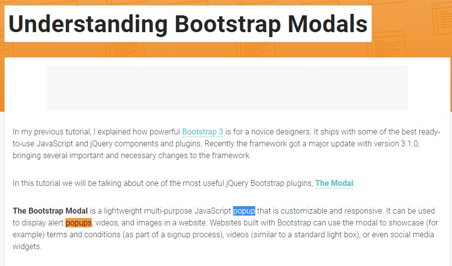 An additional useful  content  regarding to Bootstrap Modal Popup