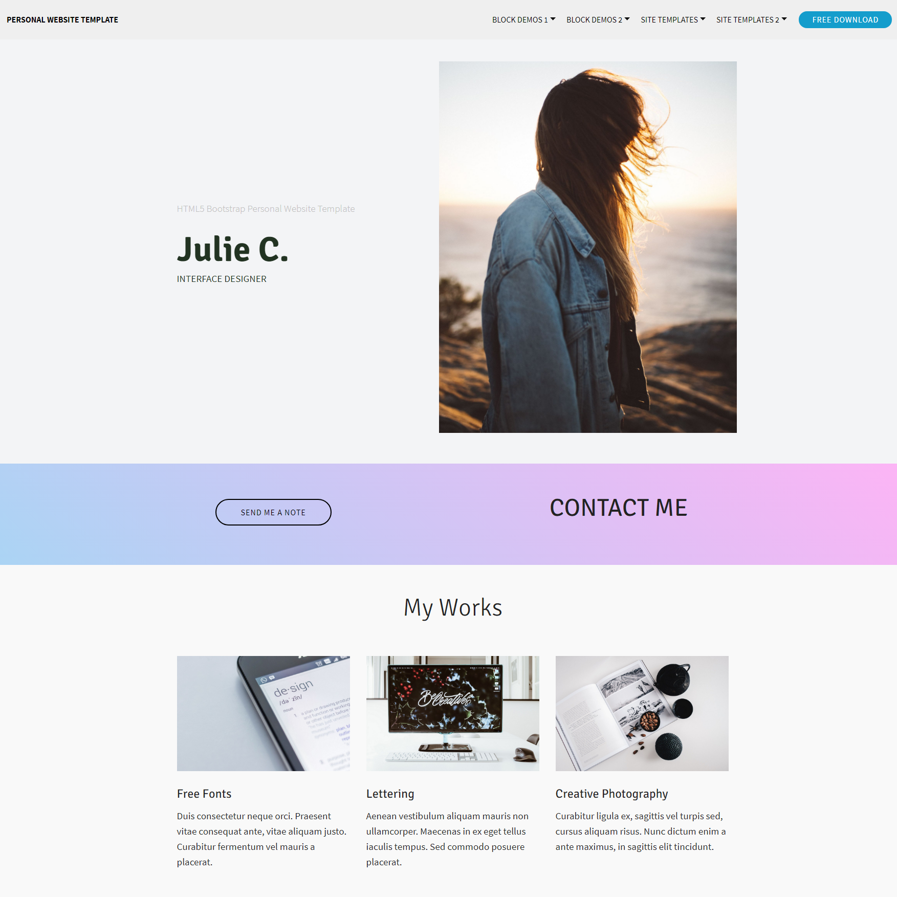 Free Bootstrap Personal Website Themes